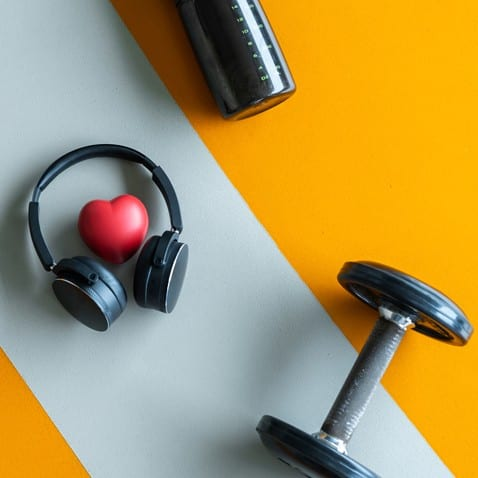 Dumbbell, Headphones, Water Bottle and Heart-Shaped Stress Ball