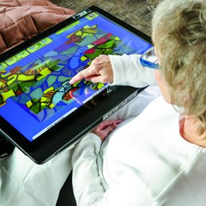 Senior Woman Doing a Puzzle on a Tablet
