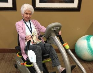 Harriet on an Exercise Machine